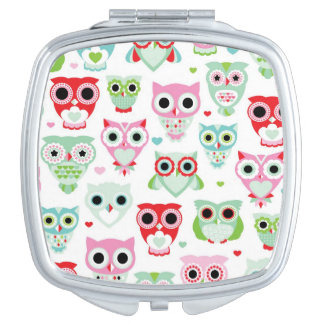 pastel powder color owl background mirror for makeup