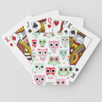 pastel powder color owl background playing cards
