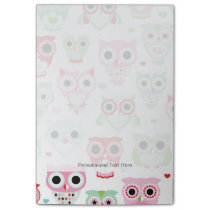 pastel powder color owl background post-it notes