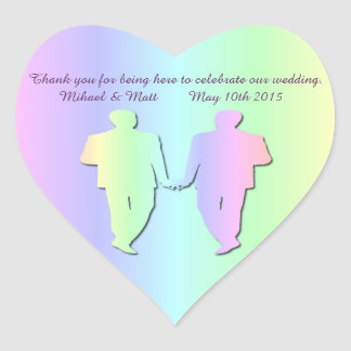 Pastel Pride Gay Wedding Heart Sticker for Grooms