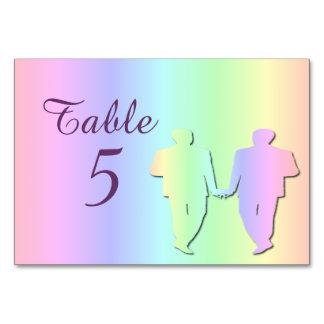 Pastel Pride Grooms Gay Wedding Table Card (Names)