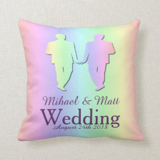 Pastel Pride Pillow Wedding Gift for Gay Grooms
