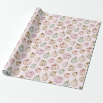 Pastel Pumpkins on Pink Wrapping Paper