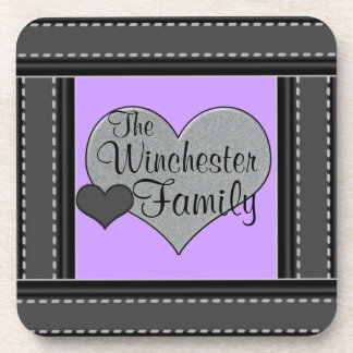 Pastel Purple Add Your Family Name Hearts Coasters