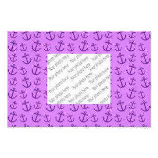 Pastel purple anchor pattern photographic print