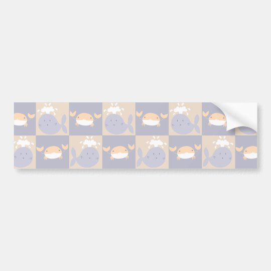 Pastel Purple and Beige Whales and Crabs Pattern Bumper Sticker