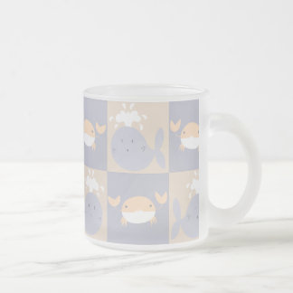 Pastel Purple and Beige Whales and Crabs Pattern Mugs