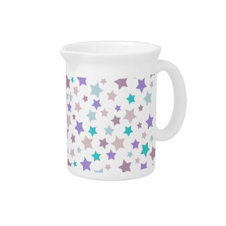 Pastel Purple and Pink stars pattern on white Drink Pitcher