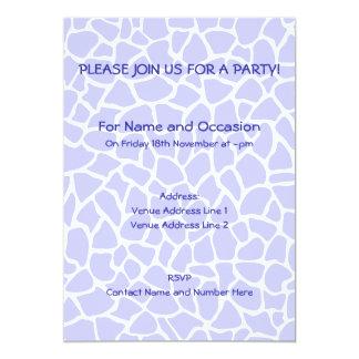 Pastel Purple Animal Print Giraffe Pattern 5x7 Paper Invitation Card