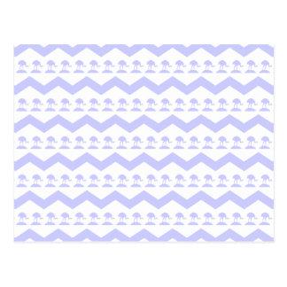 Pastel Purple Birds and Chevron Pattern Postcard