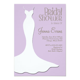 Pastel Purple Bridal Shower Elegant Vintage Card