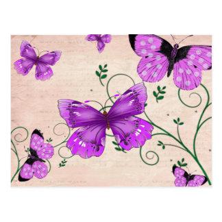Pastel Purple Butterflies Postcard