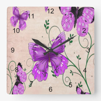 Pastel Purple Butterflies Square Wall Clock