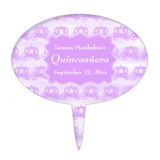 Pastel Purple Carriages Quinceanera Cake Topper