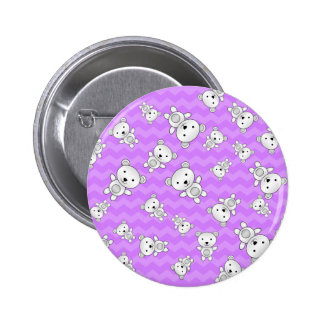Pastel purple chevrons polar bears 2 inch round button
