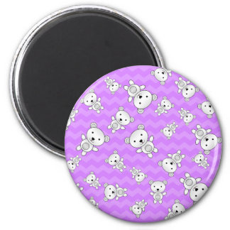 Pastel purple chevrons polar bears 2 inch round magnet