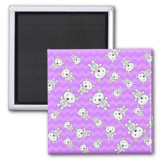 Pastel purple chevrons polar bears 2 inch square magnet