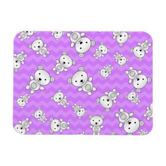 Pastel purple chevrons polar bears rectangular photo magnet