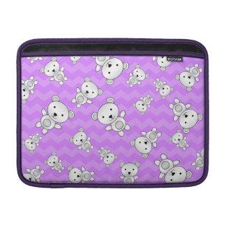 Pastel purple chevrons polar bears sleeve for MacBook air
