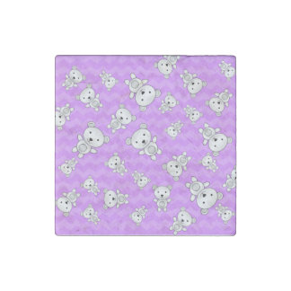 Pastel purple chevrons polar bears stone magnet