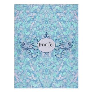 Pastel Purple Custom Monogram Name Princess Style Postcard