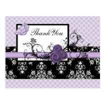 pastel purple damask polka dots Thank you Postcard