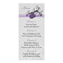 pastel purple damask polka dots  wedding menu