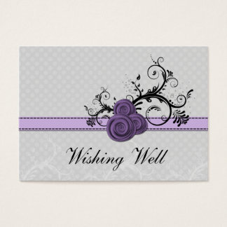 pastel purple damask polka dots wishing well cards