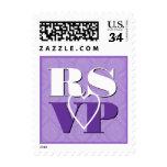 Pastel  Purple Damask RSVP Heart Wedding Postage