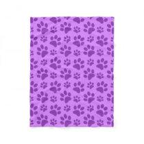 Pastel purple dog paw print fleece blanket