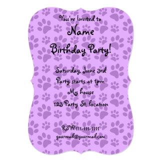 Pastel purple dog paw print custom announcements