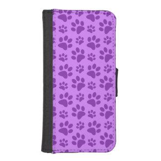 Pastel purple dog paw print phone wallet cases