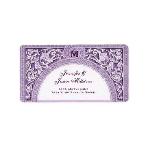 PASTEL PURPLE Floral Arch Wedding Address Label