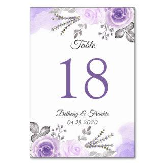 Pastel Purple Floral Wedding Table Number Card