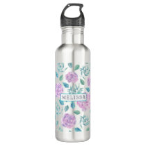 Pastel Purple Flowers Pattern Monogram Water Bottle