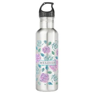 Pastel Purple Flowers Pattern Monogram Water Bottle