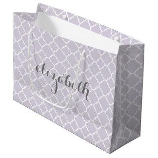 Pastel Purple Gray Quatrefoil Pattern Custom Name Large Gift Bag