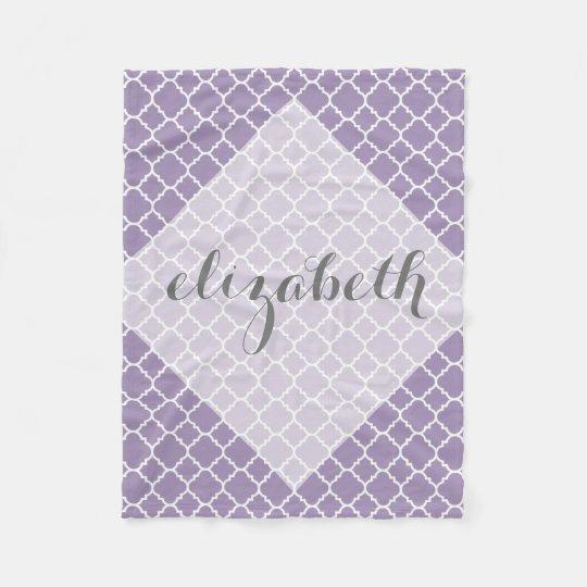 Pastel Purple Gray Quatrefoil Pattern Custom Name Fleece Blanket Impressive Fleece Blanket Pattern