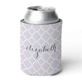 Pastel Purple Gray Quatrefoil Pattern Custom Name Can Cooler