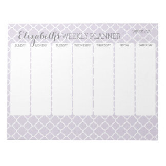 Pastel Purple Gray Quatrefoil with Weekly Planner Scratch Pads