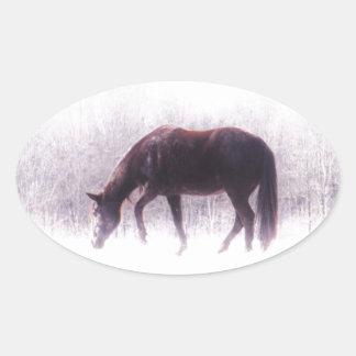 Pastel purple horse in the fog oval sticker