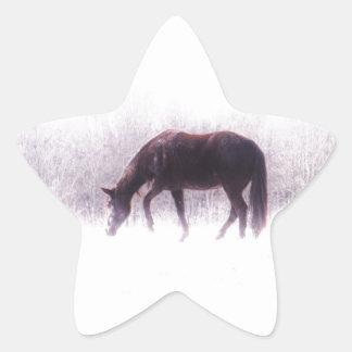 Pastel purple horse in the fog star sticker