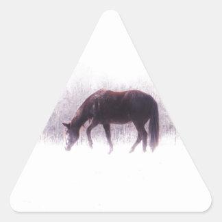 Pastel purple horse in the fog triangle sticker