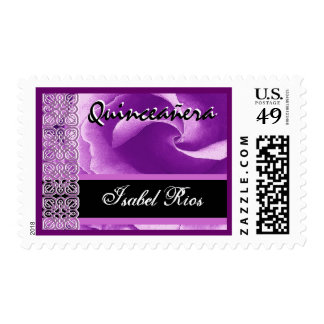 PASTEL PURPLE Lace Rose Quinceanera - Custom Name Postage