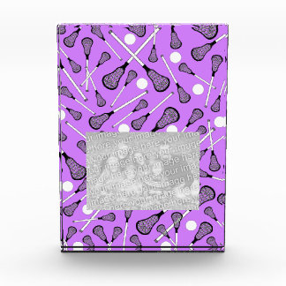 Pastel purple lacrosse sticks pattern acrylic award