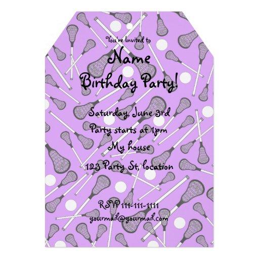 Pastel purple lacrosse sticks pattern custom invitation