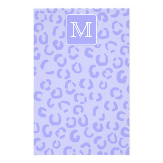 Pastel Purple Leopard Print Custom Monogram Personalized Stationery