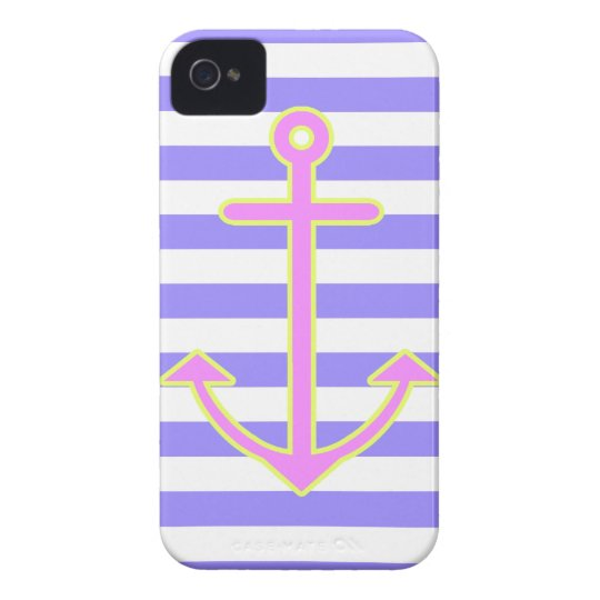 Pastel Purple Nautical Anchor iPhone 4 Cover
