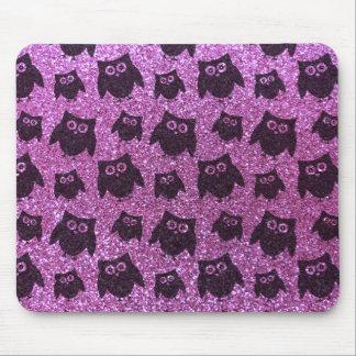 Pastel purple owl glitter pattern mousepad
