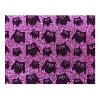 Pastel purple owl glitter pattern postcard